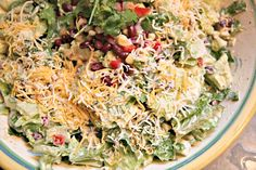 The Cottage Home: Tex-Mex Salad Recipe - sub yogurt for the sour cream to cut fat even more and add a protein for a complete meal.
