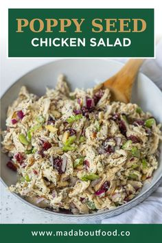 Savory and Sweet says spring to me... how about you? There's something about a sweet salad that means it's either a holiday or that warm weather has finally hit. This Poppy Seed Chicken Salad is just that. Perfect for Mother's Day or meal prep. This poppy seed chicken salad is made with shredded chicken, celery, dried cranberries, red onion and almonds. Then, it is all tossed in a delicious greek yogurt poppy seed sauce. #healthyrecipeschicken #poppyseedsalad #greekyogurtdressing… Healthy Chicken Dinner, Easy Chicken Dinner Recipes, Healthy Chicken Recipes, Real Food Recipes, Diet Recipes, Healthy Summer Recipes, Healthy Meal Prep, Recipe Box, Recipe Ideas