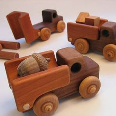 wood trucks, using different woods