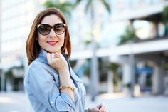 Blame it on Mei Miami Fashion Blogger 2016 Spring Outfit Idea Spring Look Inspiration How to Style Chambray Top and Lace Crochet Pencil Skirt Miu Miu Handbag with Dior Colorful Scarf Louboutin Nude Heels Louis Vuitton Amber Cat-Eye Sunglasses YSL Arty Ring