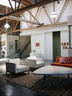 Architect Visit: Live/Work Loft by Slant Studio - Remodelista Loft Spaces, Living Spaces, Living Rooms, Loft Apartments, High Ceiling Living Room, Warehouse Living, Loft Interiors, Studio Living, Industrial House