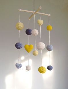 Crochet Balls/Hearts Baby Mobile by YarnBallStories on Etsy