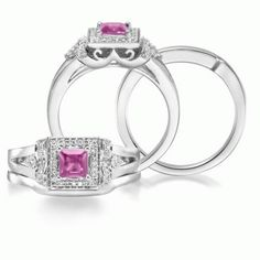 Evermore - 14K White Gold 4.5mm Princess Pink Sapphire/Diamond Wedding Ring