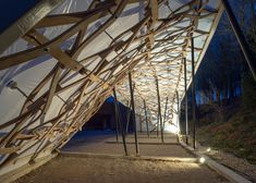 Architectural Association students built a woodland shelter with a twisting lattice roof