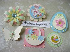 Easter Bunny and Eggs Spring Paper Embellishments and  Paper Flowers for Scrapbooking Cards Mini Albums and Papercrafts.  via Etsy.