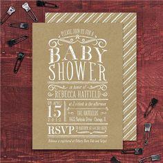 Kraft Party Invitation Vintage Baby Shower by BanterandCharm, $45.00
