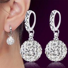 $4.6 - Awesome Brand silver earrings Shambhala luxury zirconia earrings female popular original brand of high-end vintage stud earrings Hot - Buy it Now!