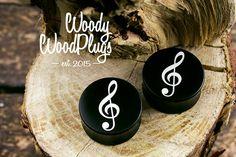 Treble clef ear plugs - from ebonite wood - ear guges - buy plugs - custom plugs - personalized plugs - organic ear plugs - plugs wood