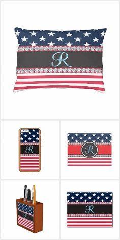 USA Monogram Stars and Stripes Flag