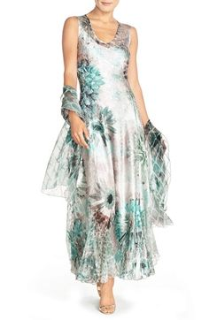 Komarov Corset Back Charmeuse Gown with Shawl (Regular & Petite) available at #Nordstrom