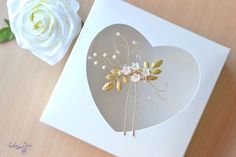 Wedding hair pin Gold leaf Flowers pin Champagne Beaded headpiece floral hair pin Bridal Hair Accessories Bride hair jewelry Cream hair pin  Ready to ship This sweet pearl crystal flowers hair pin is perfect for brides hair style or bridesmaids. Delicate peach-champagne shades in combination with warm gold look exquisitely #hairpin #bridaljewelry #hairjewelry #headpiece #bridal #weddingaccessories