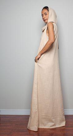 Linen Maxi Dress / Sleeveless Dress with hood The by Nuichan, $75.00