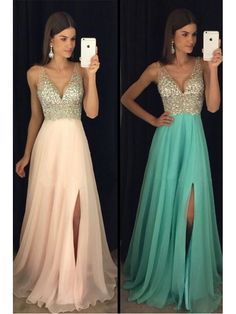 A-Line Beaded Sequins V-Neck Long Chiffon Prom Dresses Party Evening Gowns 99602280
