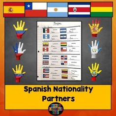 Free! Help your students learn the Spanish nationalities by using nationality partners throughout the year. Print the mini flag sheets and cut them so that each slip has 4 flags (ex. mexicano, guatemalteco, hondureo, salvadoreo). Pass out a slip of paper with 4 mini flags to each student.