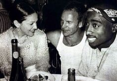 Madonna, Sting, and Tupac. I can see Madonna and Sting sitting next to each other. but Pac? This pic is worth something. Tupac Shakur, Rare Historical Photos, Rare Photos, Rare Pictures, 2pac Pictures, Madonna Pictures, Jerry Lee Lewis, Famous Celebrities, Celebs