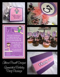 Custom Gymnastics Party Package  DIY by allisonpowelldesigns