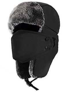 Mysuntown Unisex Winter Trooper Trapper Hat Hunting Hat Ushanka Ear Flap  Chin Strap with Windproof Mask a72345d24bf5