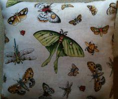 Botanical Dragonfly Butterfly Fabric Lavender Cushion - Handmade