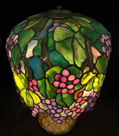 "A Carol Conti Original 10"" Baby Grape Stained Glass Lamp $2250 ~ Carol Conti was an inspiration to all, Her #Tiffany lampshades set the standard for other aspiring glass artists."