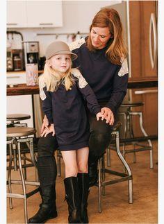 Vierra Rose Carrie Lace Sweatshirt Dress in Midnight Blue - Hello Alyss - Designer Children's Fashion Boutique