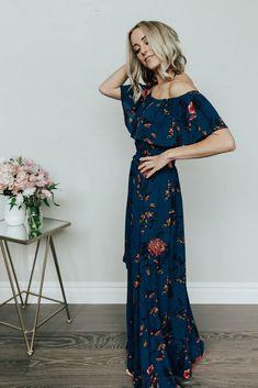 Marion Navy Floral Maxi Dress