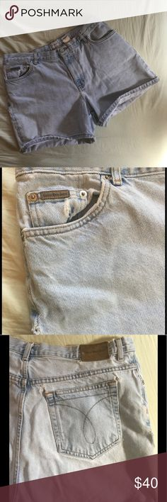 Calvin Klein Jeans Vintage Lightwash Shorts The ultimate mom shorts! Really cute and distressed/worn in in all the right places. A couple of small holes around the rear pockets and seams. Calvin Klein Jeans Shorts Jean Shorts