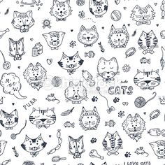 Hand Drawn Doodles Cats And Accessories For Pets Seamless Pattern ...