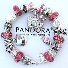 Hello Kitty, Pink Princess Heart Euro charms w/an Authentic Pandora Charm Bracelet.