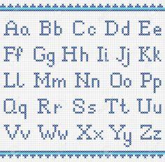 Resultado de imagen para abecedario en punto de cruz mayusculas y minusculas
