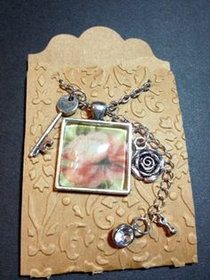 CTMH Base & Bling Jewelry, Rose Square Pendant Necklace, Mixed Media, made by Diana Casey  https://www.etsy.com/shop/CobwebsInTime?ref=si_shop
