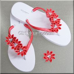 SO STUNNING!!! Your feet will be soooo pretty in these coral kurly Kanzashi flip flops (flip flop is white). Straps are wrapped with double faced satin ribbon in coral. Each flip flop has 3 individual
