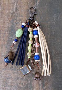 Boho Purse Charm Tassel Zipper Pull Key Chain by ThePaintedCabeza