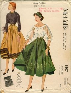 1953 McCalls sewing pattern illustrations.