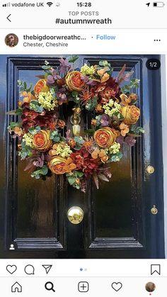 Hello October, September, Big Doors, Autumn Wreaths, Door Wreaths, Fall Decor, Cool Pictures, Floral Wreath, Amazing