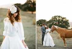 spanish bridal fashion - bride and groom with a horse
