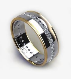 Mens wedding band with .80 tcw channel set diamonds in white gold with yellow gold trim