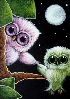 Art: TINY GREEN OWL FLYING WITH A LITTLE HELP by Artist Cyra R. Cancel