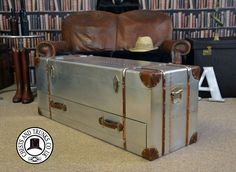 Vintage Large Metal Trunk With Drawer ⋆ Chests & Trunks Trunks And Chests, Under Stairs, Chest Of Drawers, Handmade Items, Lounge, Metal, Interior, Vintage, Airport Lounge