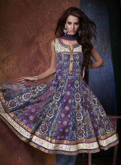 Multicolor Kora Silk Anarkali Churidar- Regal all the way