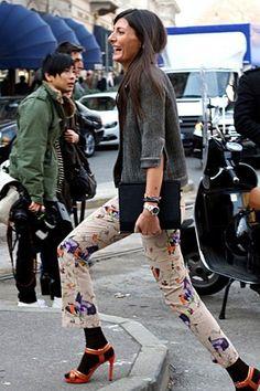 Giovanna Battaglia, pants, slacks, sweater, floral, shoes, luncheon, Sunday
