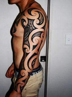Maori / Polynesian shark full sleeve 2 - 35 Awesome Maori Tattoo Designs <3 <3