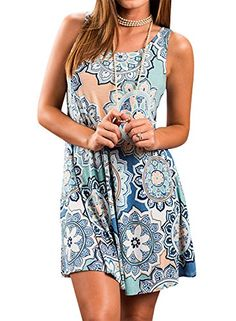 Summer Dress 2019 Women Vintage Floral Print Loose T shirt Dress Plus Size Female Sexy Sleeveless O-Neck Casual Dresses Vestidos - 8604 yuansu green X Boho Mini Dress, Boho Summer Dresses, Summer Dresses For Women, Casual Dresses, Beach Dresses, Dress Beach, Dress Summer, Women's Dresses, Maternity Dresses