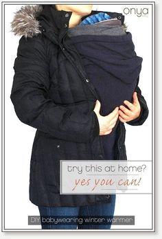 All you need to make your own babywearing winter cover? A big hoodie and your winter coat. Easy peasy.