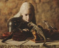 Daenerys Targaryen with her dragons......