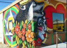 Mural by DaWolf Baker, at Raven's Nest Boutique, 2014, Highway 85, Ajo Arizona.