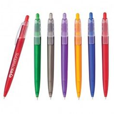 Vivid Office Pens - Frosty Color Retractable Pen With Clear Trim