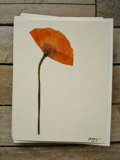 Orange Poppy  Pressed Flower Greeting Card  by by akashaOnline, $5.00