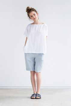 Washed and soft oversized linen top for all body shapes and sizes.  +++++++++++++++++++++++++++++++++++++++++++++++++++++++++++++++  The model is 172 cm high and the top is +/- 22  (56 cm) long. If you think that you need extra length to be added (your are rather tall or you wear bigger sizes and have large bust), please make a note while ordering.  +++++++++++++++++++++++++++++++++++++++++++++++++++++++++  WHAT MAKES YOUR ITEM SPECIAL  Our items are handmade in small studio in small qu...