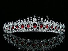 Apple Red Bridal Wedding Veil Crystal Crown Tiara 5561 | eBay