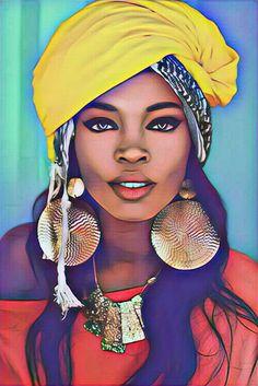 Black Girl Art, Black Women Art, Art Girl, African American Art, African Women, Portrait Art, Portraits, African Art Paintings, Arte Black